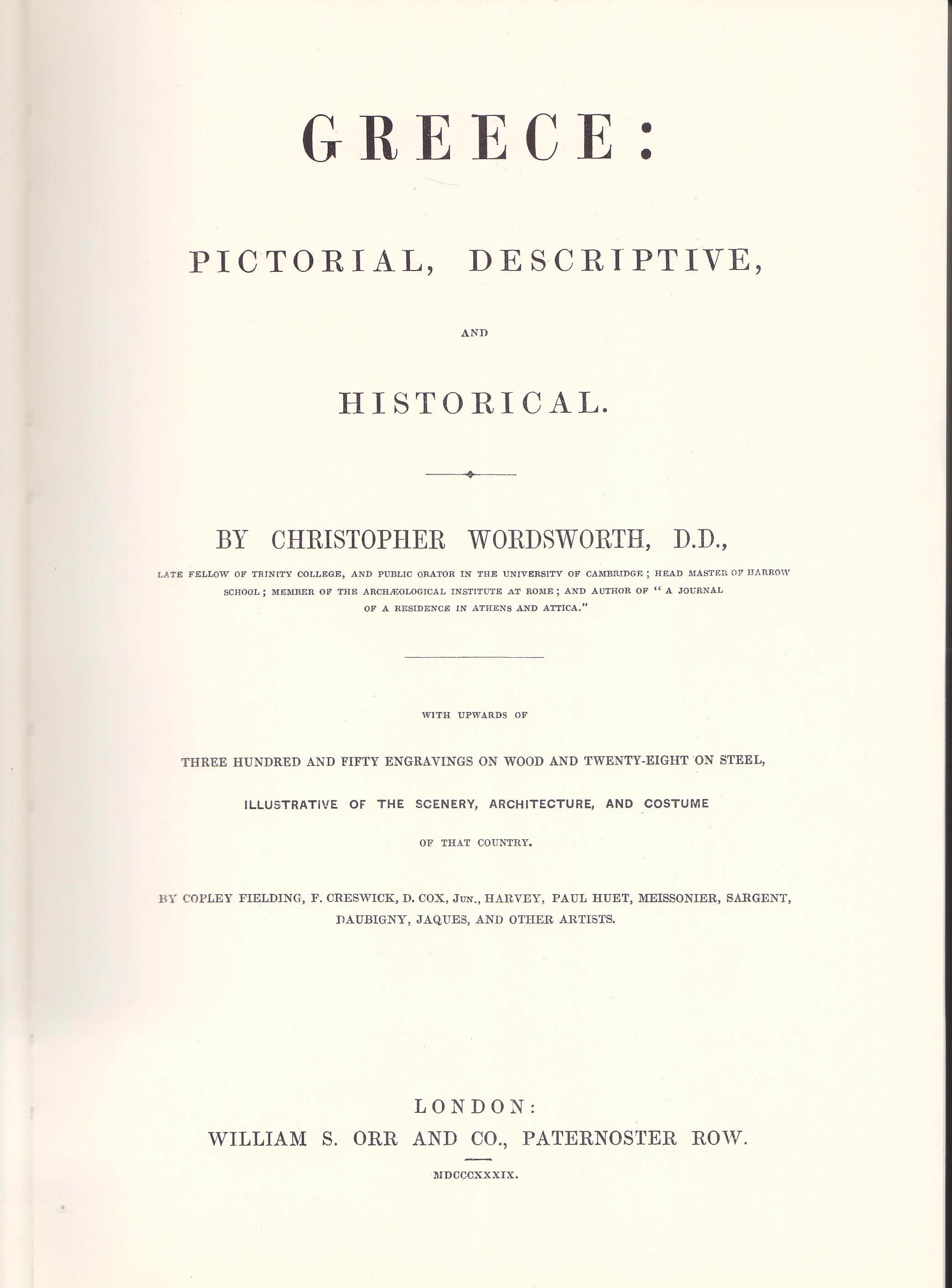 "Christopher Wordsworth – ""Greece, Pictorial, Descriptive and Historical"""